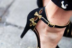 Black heels, gold bows. Another pair of shoes I love but would never actually wear because I can't do heels.