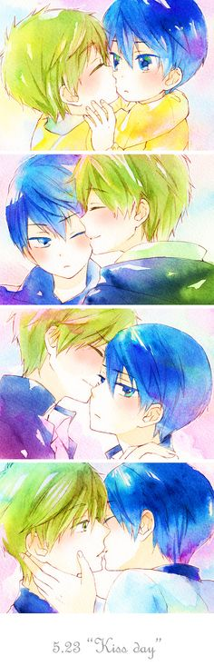 Free! Iwatobi Swim Club -MakoHaru ~~「キスの日2014」by「うゆゆ」 // ehehehhehehehhehehe ~ o.o No Shame. This Is Adorable... <3