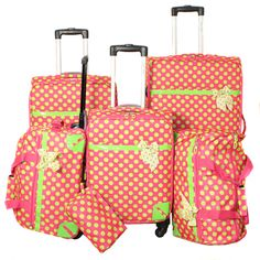 Luggage sets, Polka dots and Dots on Pinterest