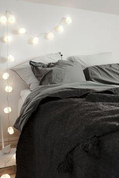 String lighting in the bedroom/under block shelves