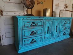 Turquoise Shabby Chic Dresser by TheVintageGoodyShop on Etsy