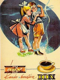 ION, still thriving Greek brand for cocoa and chocolate! Here, an ad(vertisement) from the Vintage Ads Food, Vintage Cards, Vintage Postcards, Vintage Photos, Vintage Advertising Posters, Old Advertisements, Old Posters, Art Deco Pictures, Doily Art