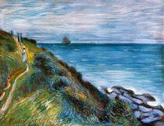 On the Cliffs, Langland Bay, Wales by Alfred Sisley (1897)