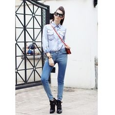 Women Autumn New Euro Style Casual Slim Empire Waist Washed Blue... ($25) via Polyvore