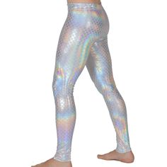 White Mermaid Leggings // White Holographic Merman Leggings & Flare Pants // Meggings by RevolverFashion on Etsy