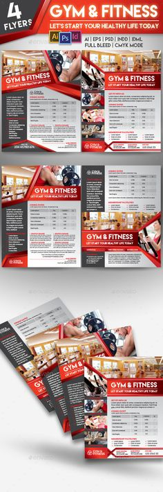 Fitness Gym Center 4 Flyer Templates - Sports Events