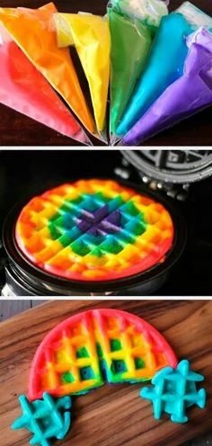 Taste the rainbow of waffles.Ahhhhhhhh, i have something new to try with waffles! Think Food, I Love Food, Good Food, Yummy Food, Rainbow Waffles, Taste The Rainbow, Rainbow Food, Rainbow Desserts, Rainbow Snacks