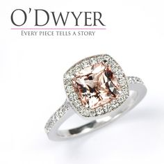 Just recently we posted an image of this stunning Octagonal Morganite ring on the hand. Today we offer you the studio image so you can see how the ring transfers so easily to your hand. The salmon pink morganite is surrounded by diamonds with a milgrain finish for that vintage look. Vintage style for a modern life. #odwyergoldsmith