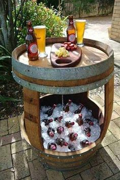 Patio beverage cooler/table made from old whiskey barrel.- What a great idea. I have a barrel, now I have something awesome to do with it Backyard Projects, Outdoor Projects, Backyard Patio, Diy Projects, Backyard Ideas, Patio Ideas, Barrel Projects, Patio Bar, Firepit Ideas
