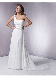 SLIM CHIFFON ONE SHOULDER COLUMN SHAPE BEADED WAISTLINE WEDDING DRESS LACE BRIDESMAID PARTY BALL GOWN PROM