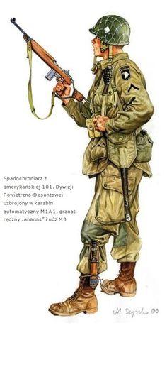U.S.ARMY - Soldato scelto della 101th Airbourne Division armato con carabina Garant M1A1 e granate ananas M3