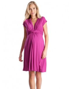 Chic And Comfortable Pink Fuchsia Knot Front Maternity Dress. For Maternity  Inspiration, Shop Here