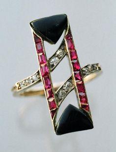 Art Deco Ruby, Diamond, and Onyx  ring, Austrian (c.1920) by shauna