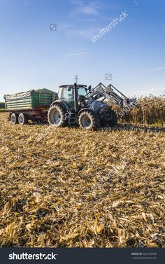 Biskupice Radlowskie, Poland - October 2, 2015: Tractor With A Forklift And A Green Trailer Is Standing On A Corn Field Stock Photo 326163458 : Shutterstock
