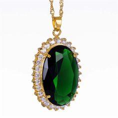 Riva Schmuck 18K Gold Vergoldet Oval Gruen Smaragd Geschenk Anhaenger Halskette…