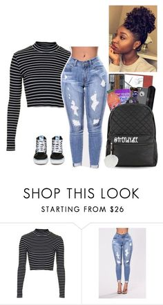 """School Readyyy"" by yungjazzyhoe ❤ liked on Polyvore featuring Topshop, !iT Collective and Vans"