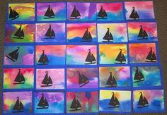 Pinner said: My kindergarten students studied the artist Winslow Homer and make these beautiful paintings using watercolors and a die-cut of the sailboat. They enjoyed it very much. Thank you Karyn V. Kindergarten Art Lessons, Art Lessons Elementary, Square One Art, Art Et Nature, 2nd Grade Art, Ecole Art, Preschool Art, Art Lesson Plans, Art Classroom