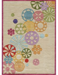 Hipster Flowers Rug in Ivory, Patterned Rugs, Rugs for Girls