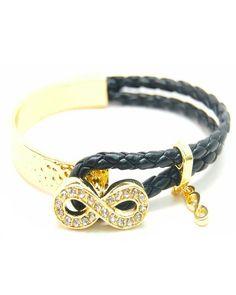 Gold Infinity Black Bracelet. I want this SOO BAD!