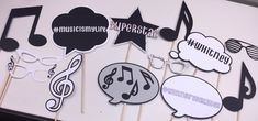 Music themed photo booth props by JCBelleCreations on Etsy