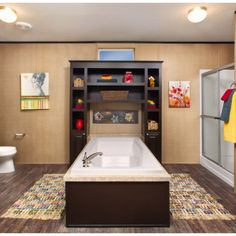 Master Bedroom Bathroom, Master Bath, Manufactured Homes For Sale, Clayton Homes, Modular Homes, Shower Tub, Pretty Cool, Home Builders, Corner Bathtub