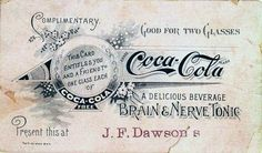"""Coca Cola Nerve Tonic"" French graphic in color Vintage Packaging, Vintage Labels, Vintage Signs, Vintage Images, Coke Ad, Coca Cola Ad, Vintage Coke, Vintage Paper, Vintage Typography"