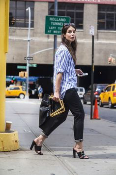 Striped blouse with a Celine bag.