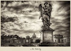 Ancient Rome in Black & White: Ponte Sant'Angelo and Saint Peter's Basilica, the Pantheon, the Roman Forum, the Colosseum, the Arch of Constantine, and the Spanish Steps.