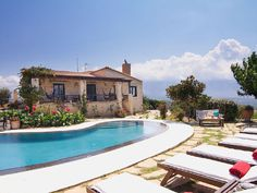 Rethymno villa rental - An aspect of the Villa and pool terrace! Crystal Clear Water, Terrace, Swimming Pools, Bbq, Villa, Mansions, Luxury, House Styles, Beach