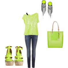 Lime green. Maybe black heels black bracelets n a different purse then it should be set