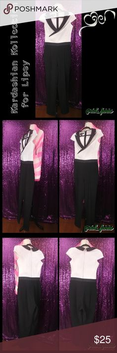 Kardashian Kollection for Lipsy jumpsuit Stunning Kardashian kollection for Lipsy jumpsuit. Size 8. Message me for more details. 3 very tiny stains on front left breast. Not noticeable and I'm taking it to get cleaned. ?? Message me for more details,offers or bundles. Thank you for looking #Kardashiakollection  #Lipsy #jumpsuit #white #black #size8 #stunning #bossbitch #hustlersuit #tuxedocollar Kardashian Kollection Pants Jumpsuits & Rompers