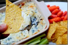 Skinny Spinach & Artichoke Dip- LOVE this blog, she's brilliant!