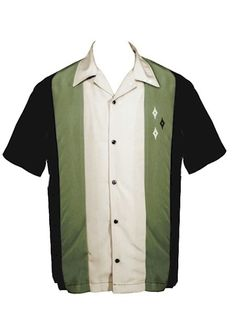 DiamondFlush: Rockabilly Shirt -- Black shirt with Green & Stone Panels -- Embroidered on Left Chest with Diamonds  -- Soft-hand 100% Polyester Peachskin -- Full Button ; Side Vents -- Machine Washable ; Made in USA