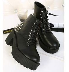 New Womens Black Fashion Punk rivets Platform ankle boots #hez  #GL #FashionAnkle