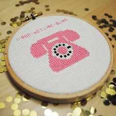 1-800-hotline-bling drake embroidery hoop cross stitch