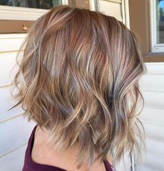 Caramel Bob With Gray Highlights