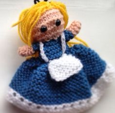 Alice in Wonderland hand knitted doll - Facebook.com/handmadebyauntysara