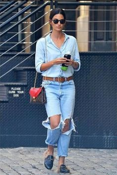 891d18df93158e #LilyAldridge in #NewYorkCity carrying #louisvuitton and #gucci loafers!  #dailylook from