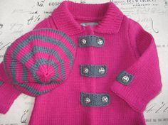 Hand knitted pink baby coat with matching hat for by KNITLEBITS
