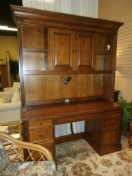 Price: $1795.00 	 Item #: 131077 Ethan Allen desk with matching hutch in honey. Measures 65 x 22 x 80