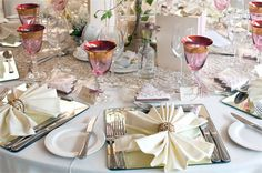 Vintage gold table runner, ivory linen tablecloth, mirrored place setting, pink crystal glassware, beaded napkin ring