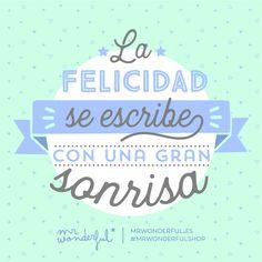 La felicidad se escribe con una gran sonrisa ¡Y la tuya es perfecta! Happiness is written with a great big smile. Inspirational Phrases, Motivational Quotes, Funny Quotes, Quotes Quotes, Positive Affirmations, Positive Quotes, Strong Quotes, You Are Perfect, Spanish Quotes