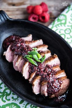 Duck With Raspberry Sauce. Top off some medium-rare duck breasts with a burst of sweet raspberries and tangy balsamic vinegar.