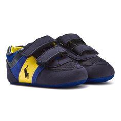 Ralph Lauren Navy and Yellow Slaton EZ Branded Crib Trainers