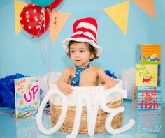 1 year portraits: cat in the hat theme
