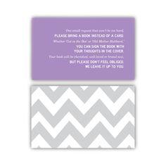 """Bring a Book Instead of a Card"" printable invitation enclosure - Customizable. $5.00, via Etsy."