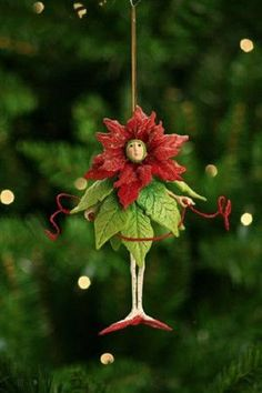 Patience Brewster POINSETTIA GIRL ornament Krinkles CUTE! New in Box!