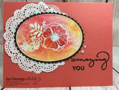 Amazing You,FREE 2018 Stampin Up Sale-A-Bration stamp set. Card using the new Brusho watercolor crystals from the 2018 Occasions Catalog
