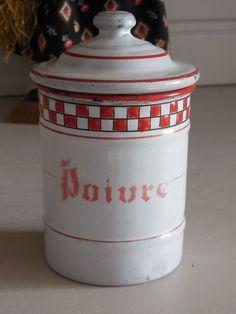 Antique French Enamelware-Graniteware PEPPER CANISTER / RED LUSTUCRU pattern