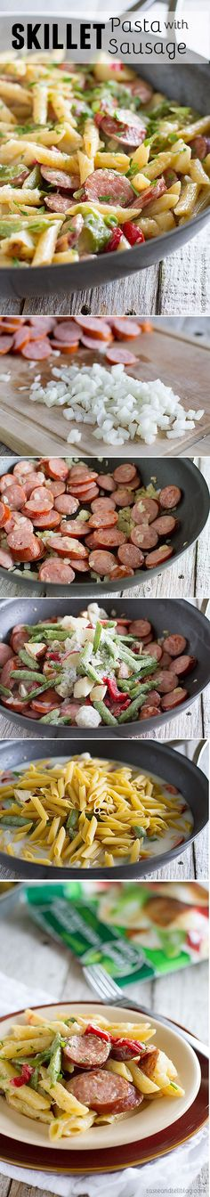 Skillet Pasta with Sausage - this one pan meal is ready in no time at all and your family will love it! /// made this for dinner today.definitely top with parmesan - it's delicious. Yummy Recipes, Pork Recipes, Dinner Recipes, Cooking Recipes, Healthy Recipes, Recipies, Think Food, I Love Food, Good Food